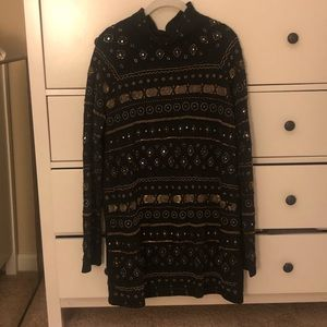 free people size M beaded black dress
